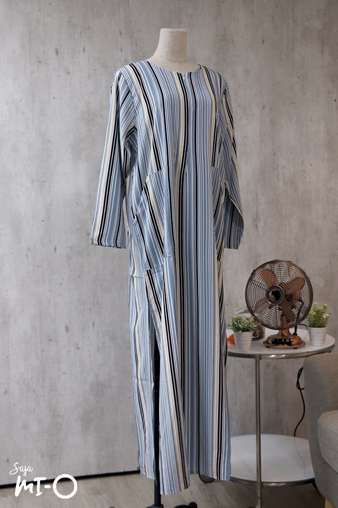 La Belle Striped Dress in Blue - Saja Mi-O