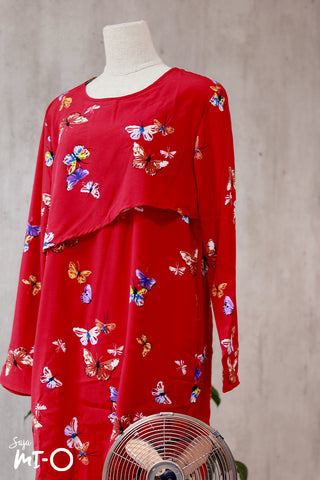 Thea Butterfly Prints Shirt Dress in Red