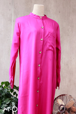 Raidah Solid Button-down Abaya in Fuchsia