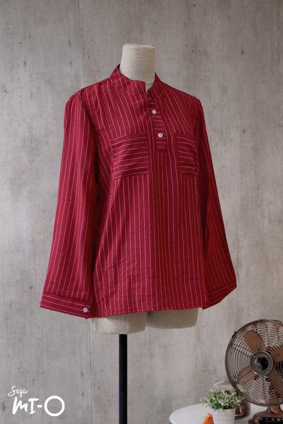 Natalie Twin Pocket Stripes Top in Burgundy - Saja Mi-O