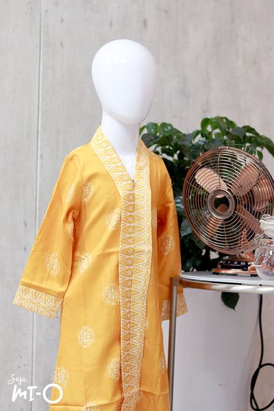 Lyla Kids Songket Jubah in Honey Yellow
