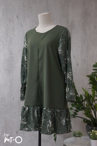 Kailey Floral Tunic Top in Olive Green