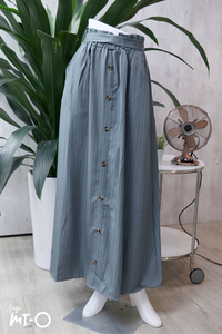 Alva Buttoned Long Skirt in Striped Teal