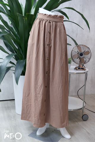 Alva Buttoned Long Skirt in Striped Khaki - Saja Mi-O