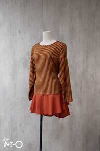 Nadia Good Vibes Striped Top in Burnt Orange