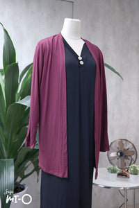 Casey Slip Cardigan in Dark Raspberry - Saja Mi-O
