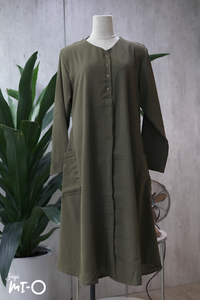 Tess Monochrome Shirtdress in Olive Green - Saja Mi-O
