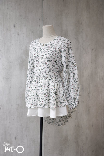 Dhia Echoes of Spring Top in White - Saja Mi-O