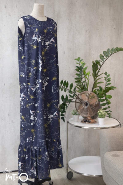 Mira Drop Hem Dress in Navy Florals