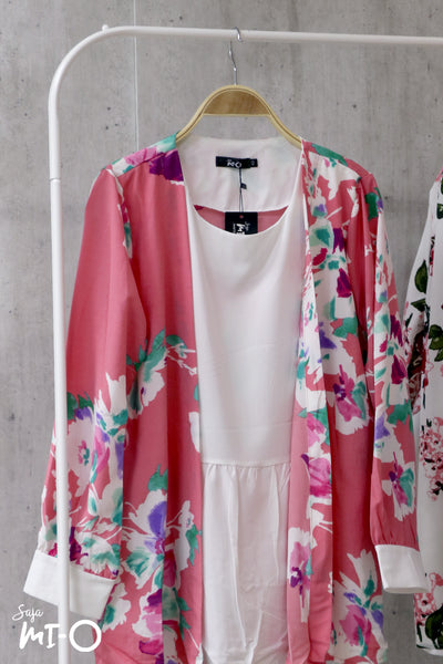 Ceci Blooms Cardigan with Attached Top in Coral Pink - Saja Mi-O