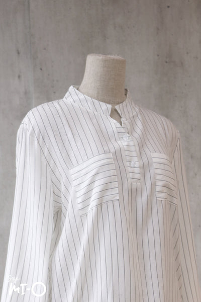 Natalie Twin Pocket Stripes Top in White