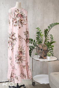 Mira Drop Hem Dress in  Soft Pink Bouquet
