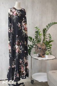 Mira Drop Hem Dress in  Black Bouquet