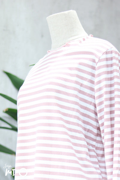 Ashtar Striped Top in Pink - Saja Mi-O