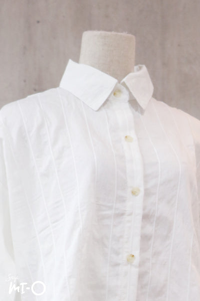 Tara Stripes Collared Top in White