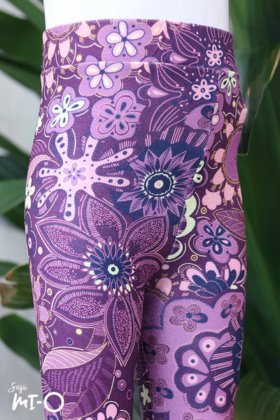 Jacey Floral Leggings in Purple - Saja Mi-O