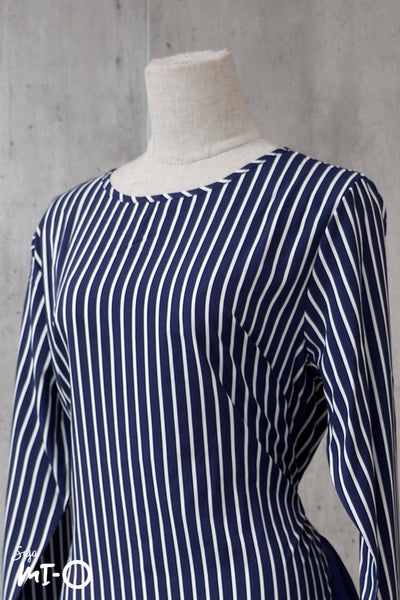 Nadia Good Vibes Striped Top in Navy - Saja Mi-O