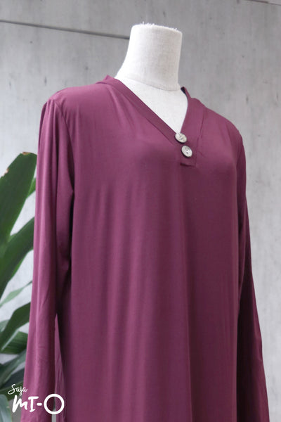 Jacintha Breezy Dress in Burgundy - Saja Mi-O