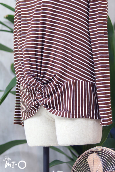 Nura Striped Twist Front Top in Burgundy