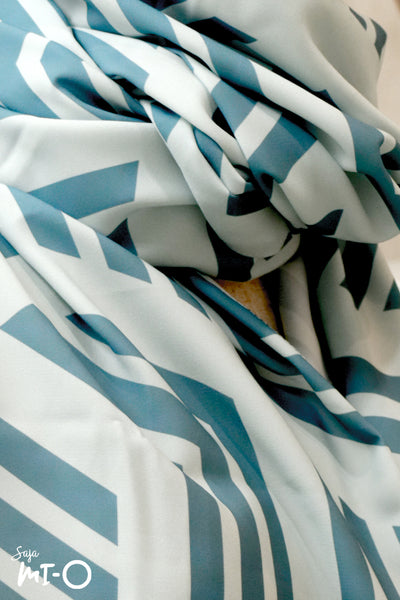 Munyah Monochrome Blocks Headscarf in Teal Green - Saja Mi-O