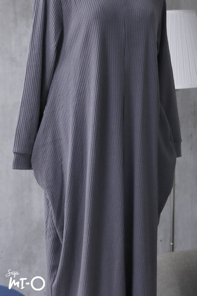 Zaqya Basic Everyday Long Dress in Pewter Grey - Saja Mi-O