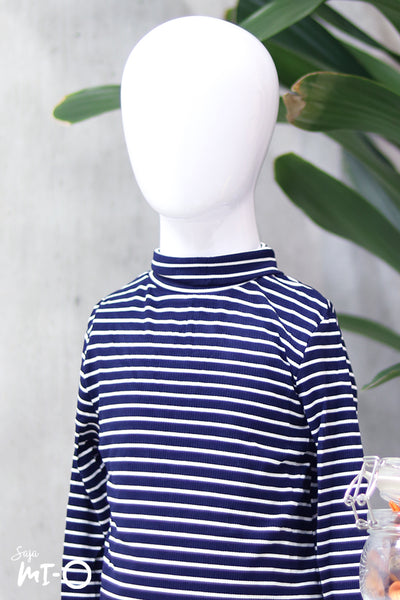Erlin Striped Roll Neck Top in Navy (Kids) - Saja Mi-O
