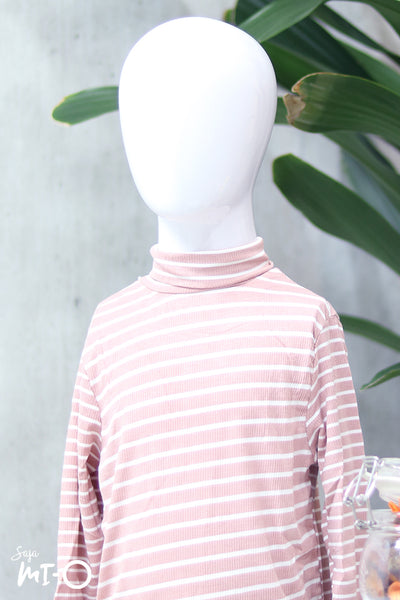 Erlin Striped Roll Neck Top in Pink (Kids) - Saja Mi-O