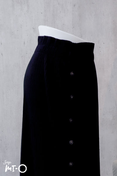Aislin Button Front Skirt in Dark Navy - Saja Mi-O