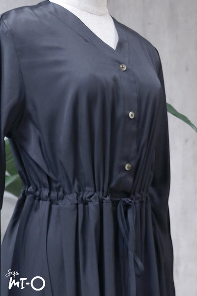 Lydia Tie-Waist Shirtdress in Black - Saja Mi-O