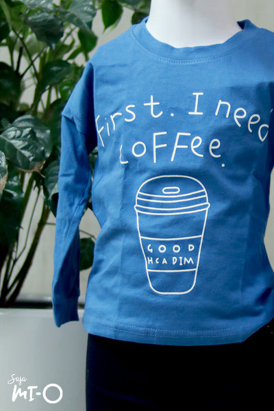 Olivia Coffee-First Kids' Top In Sapphire Blue