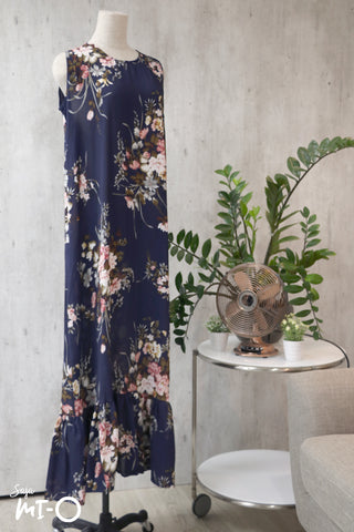 Mira Drop Hem Dress in  Navy Bouquet