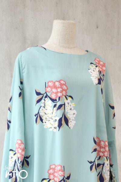 Caitlyn Floral Dress in Light Turquoise - Saja Mi-O