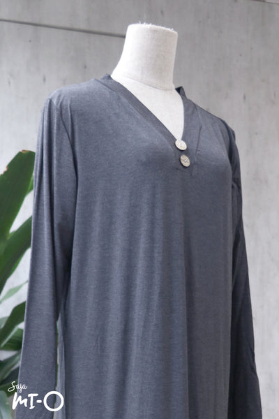 Jacintha Breezy Dress in Steel Grey - Saja Mi-O