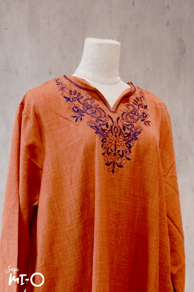 Megha Embroidered Front Dress in Orange Brown - Saja Mi-O