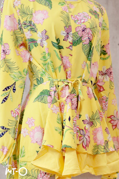 Dhia Full Bloom Top in Yellow - Saja Mi-O