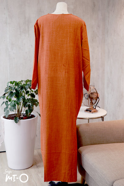 Megha Embroidered Front Dress in Orange Brown