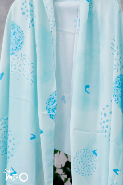 Lyn Abstract Blooms Tudung in Sky Blue