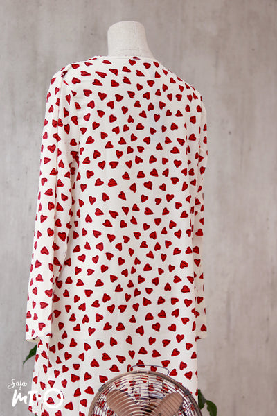 Thea Heart Prints Shirt Dress in White