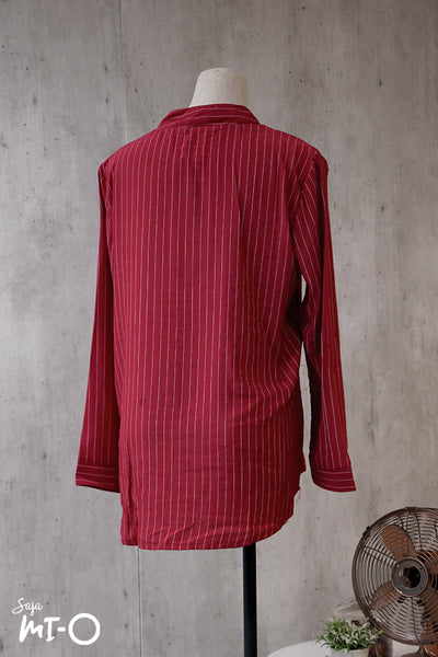 Natalie Twin Pocket Stripes Top in Burgundy