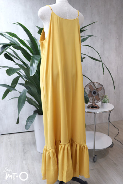 Meralda Spaghetti Mermaid Hem Dress in Dandelion Yellow - Saja Mi-O
