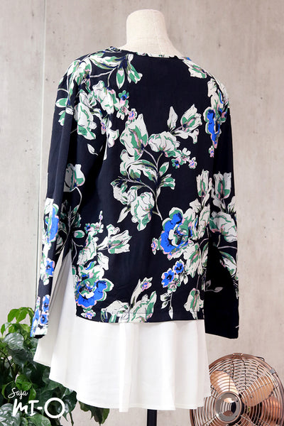 Rida Florals Broad Hem Black Top