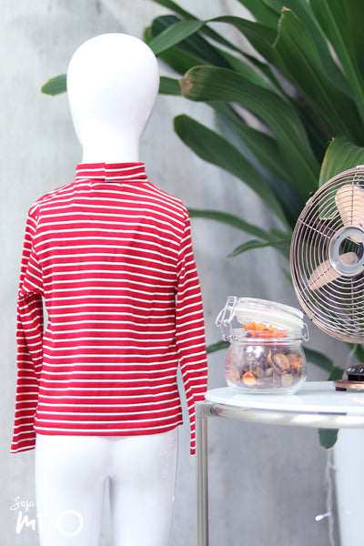 Erlin Striped Roll Neck Top in Red (Kids) - Saja Mi-O
