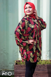 Farah Fern Print Top in Black - Saja Mi-O