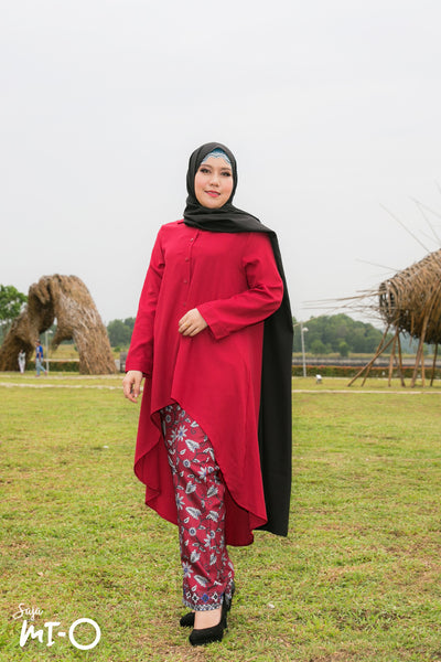 Izza Botanical Wide Leg Pants in Red - Saja Mi-O