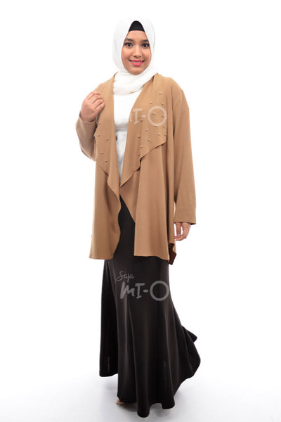 Daisha Waterfall Cardigan in Brown - Saja Mi-O