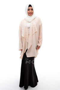 Daisha Waterfall Cardigan in Cream - Saja Mi-O