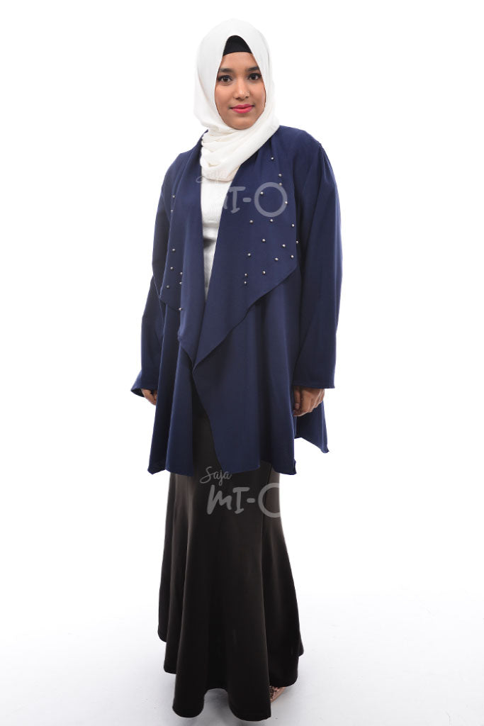 Daisha Waterfall Cardigan in Navy - Saja Mi-O