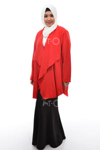 Daisha Waterfall Cardigan in Red - Saja Mi-O