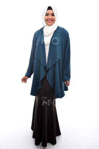 Daisha Waterfall Cardigan in Teal - Saja Mi-O