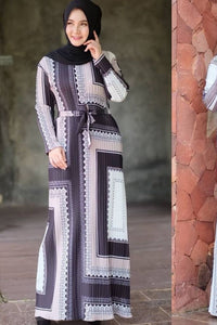 Linda Maxi Long Sleeve Pleated Dress in Black Block Print - Saja Mi-O